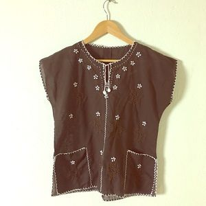 Tops - Vintage Chocolate Brown Hippie Embroidered Blouse